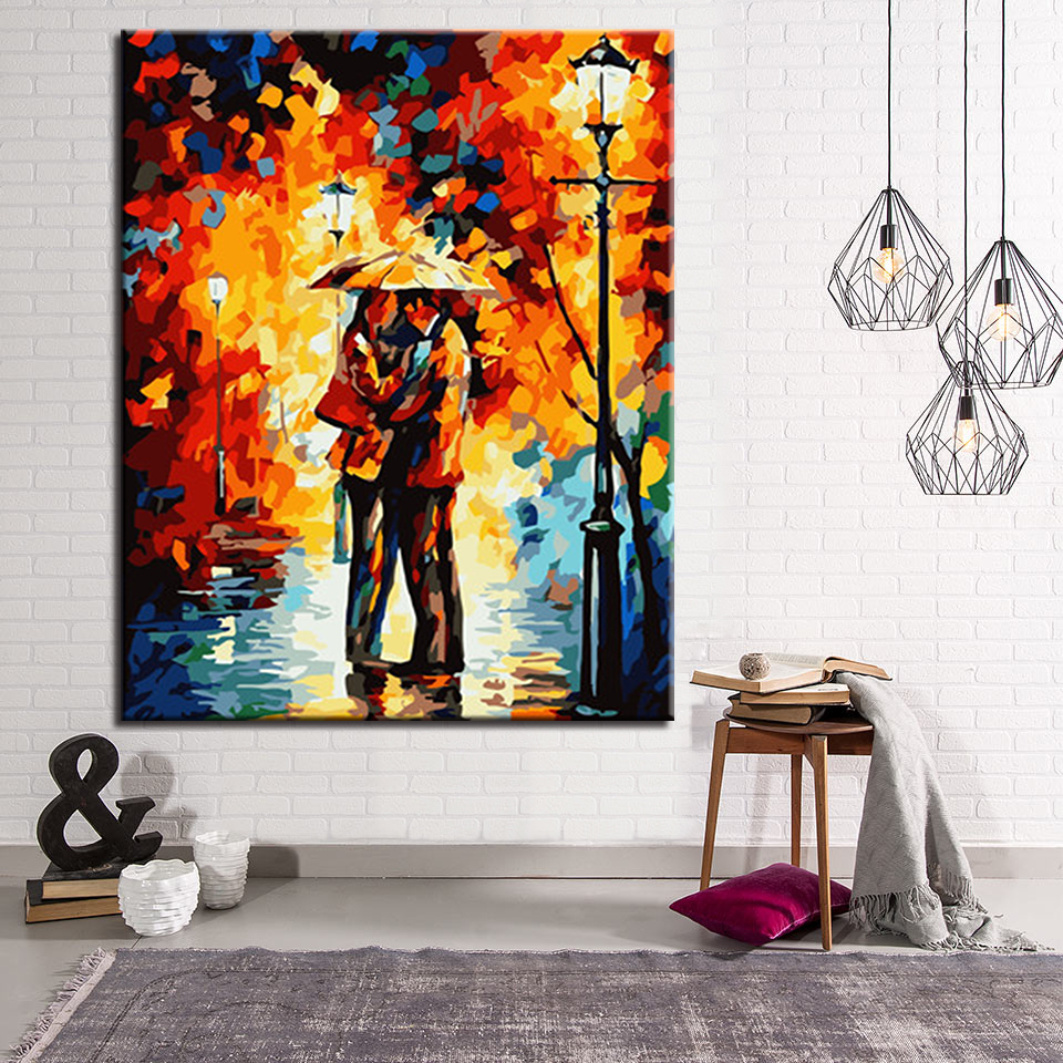 DIY Oil Painting Coloring Pictures By Numbers Street Lamp Night Landscape Calligraphy Canvas Framework For Living Room Drawing ...
