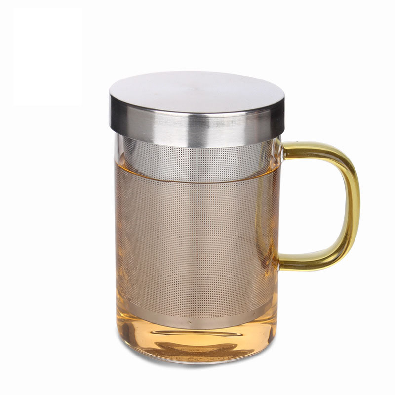 New 450ml / 15.84 fl.oz Heat-resistant Handgrisp Glass Tea Cup with Stainless Steel Strainer, Lid Man Office Cup Gift