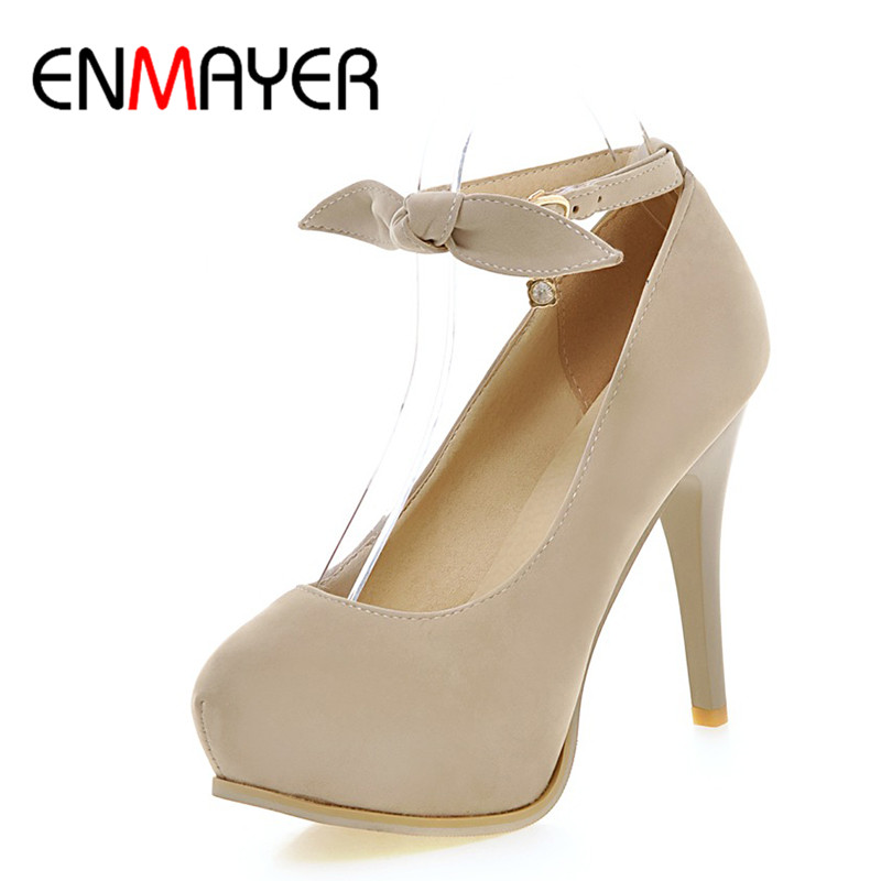 ФОТО ENMAYER Super High Heels Round Toe Bowties Charms Pumps Spring&Autumn Platform Shoes Woman Plus Size 34-43
