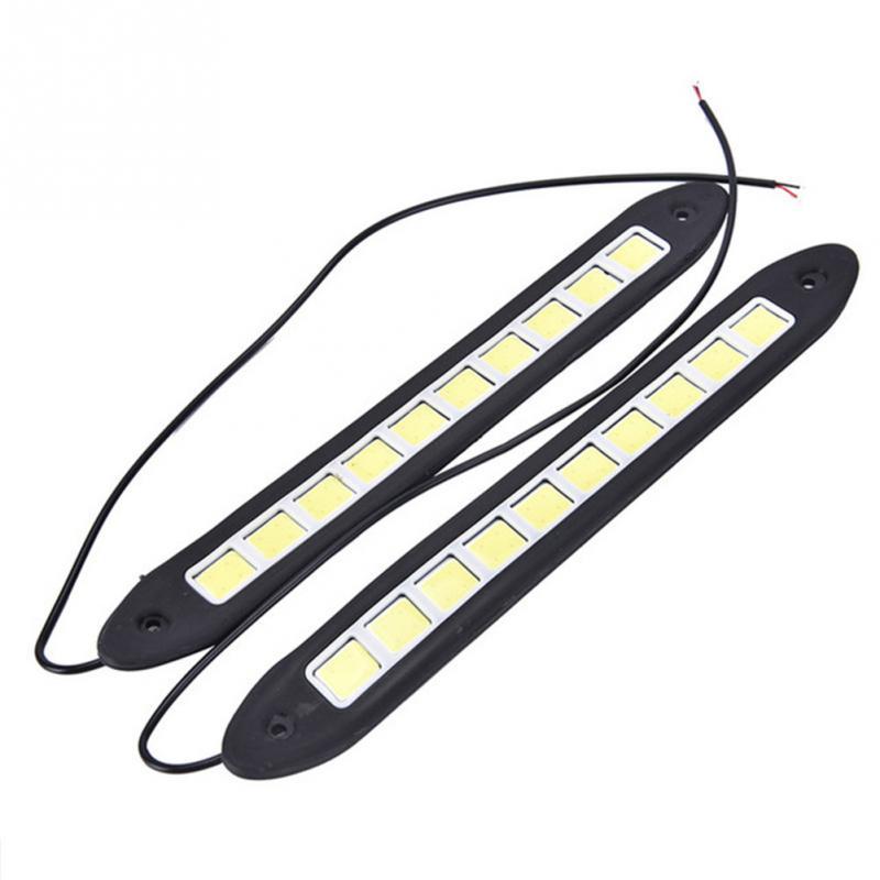 2Pcs Car DRL Fog Lights Strip Daytime Running COB Waterproof Drive Lamp 12V 2pcs car cob leds daytime running bright light drl waterproof fog lamp u shape