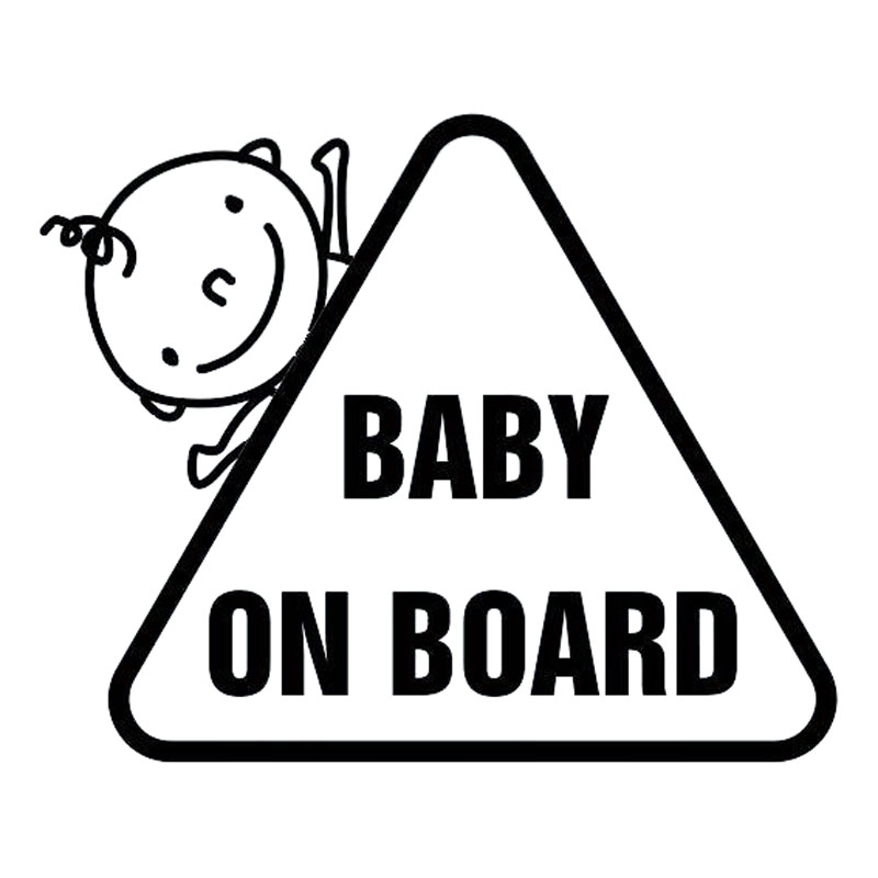 16.9*13.7CM Car Safety Sign Decal BABY ON BOARD Lovely Child Decal Classic Car Sticker Black/Silver C9-2341