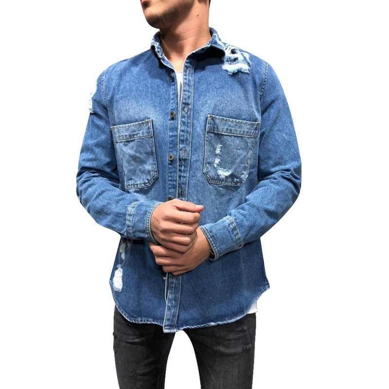 2019 Chaqueta De Mezclilla Para Hombre De Moda Caliente Primavera Otoño Abrigos Finos Vaqueros Rasgados Chaqueta De Mezclilla Para Hombre Chaqueta