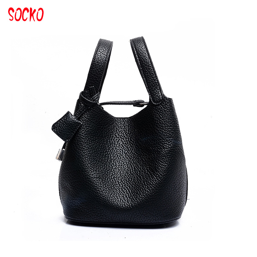 6c3013a7f8 2017 New fashion women casual bucket bag litchi pure leather handbag female  solid shoulder composite bag with hand bag ZL79