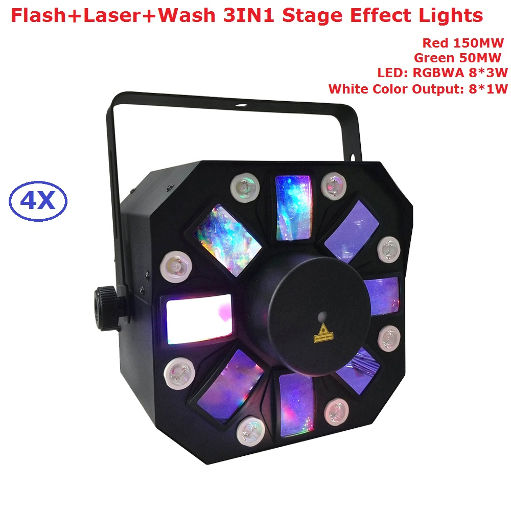 4X Sales 200MW RG Two Color DMX Laser Projector 8X1W White Color LED Stage Effect Lighting For Party Wedding KTV Decoration rg mini 3 lens 24 patterns led laser projector stage lighting effect 3w blue for dj disco party club laser