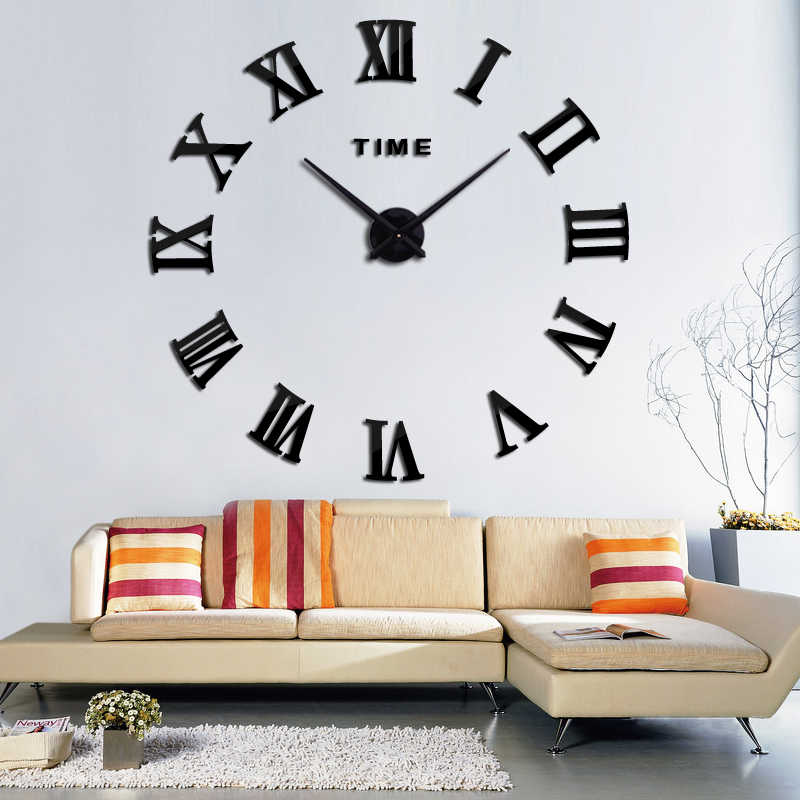 New creative large acrylic mirror wall clock diy quartz watch Single Face clocks modern home decoration living room stickers