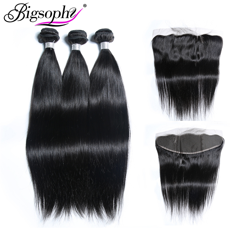 Bigsophy Hair Straight Wave Mongolian Weave Hair Bundles 3Bundles Hair With 13*4 Frontal Closure 100% Remy Human Hair Extension