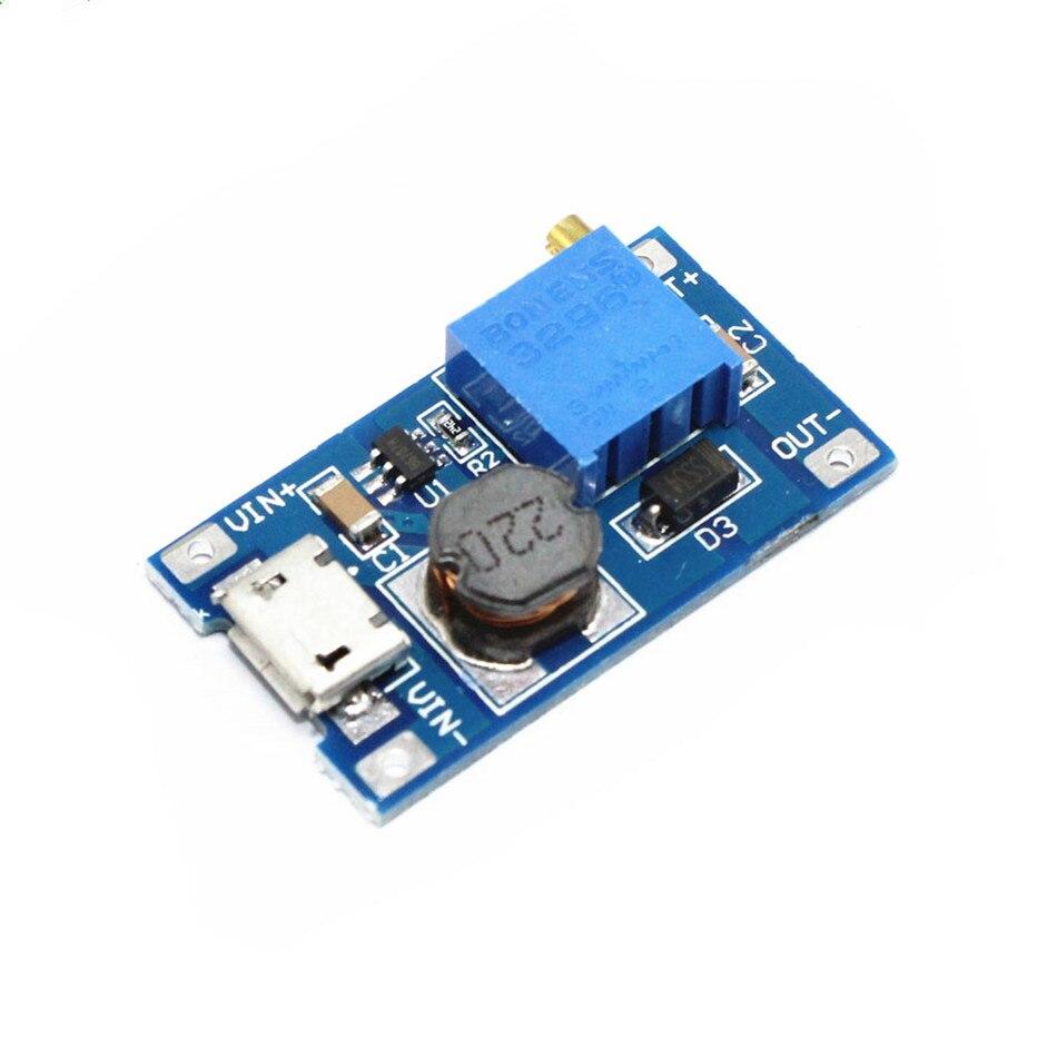 2A DC-DC Step-up Boost Converter Adjustable Booster DC DC Step Up Adapter with MICRO USB 2V - 24V to 5V 9V 12V 28V MT3608 LM2577 (2)