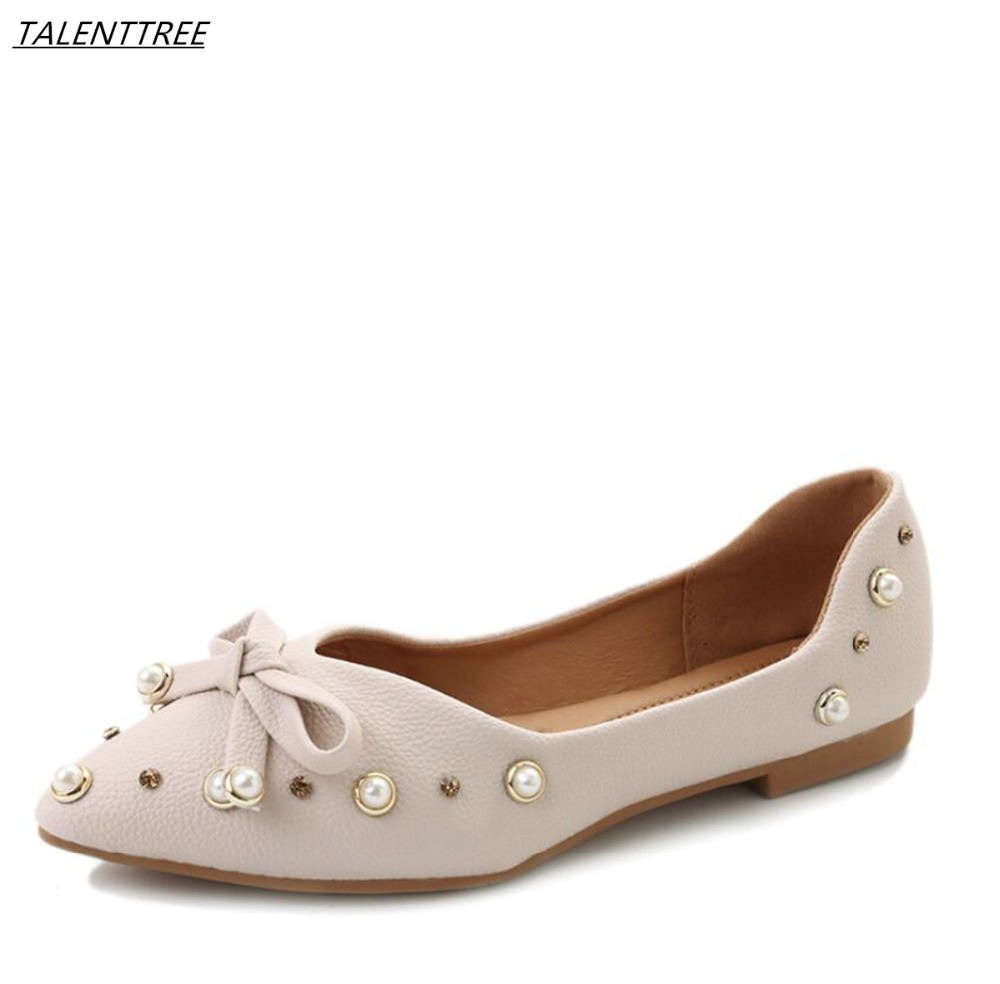2018 New bowknot Women Flats Fashion High Quality Pointy Toe Leather shoes Ballerina Ballet feminino Flat Slip On Shoes zapatos cresfimix zapatos women cute flat shoes lady spring and summer pu leather flats female casual soft comfortable slip on shoes
