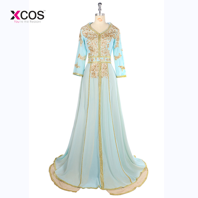 2017 Long Sleeve Abaya Evening Dress Dubai Arabic Kaftan Shiny Gold Sequins  Beaded Light Green Evening Gowns robe de soiree e2d0654d65b3