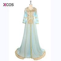 2017 Long Sleeve Abaya Evening Dress Dubai Arabic Kaftan Shiny Gold Sequins Beaded Light Green Evening Gowns robe de soiree