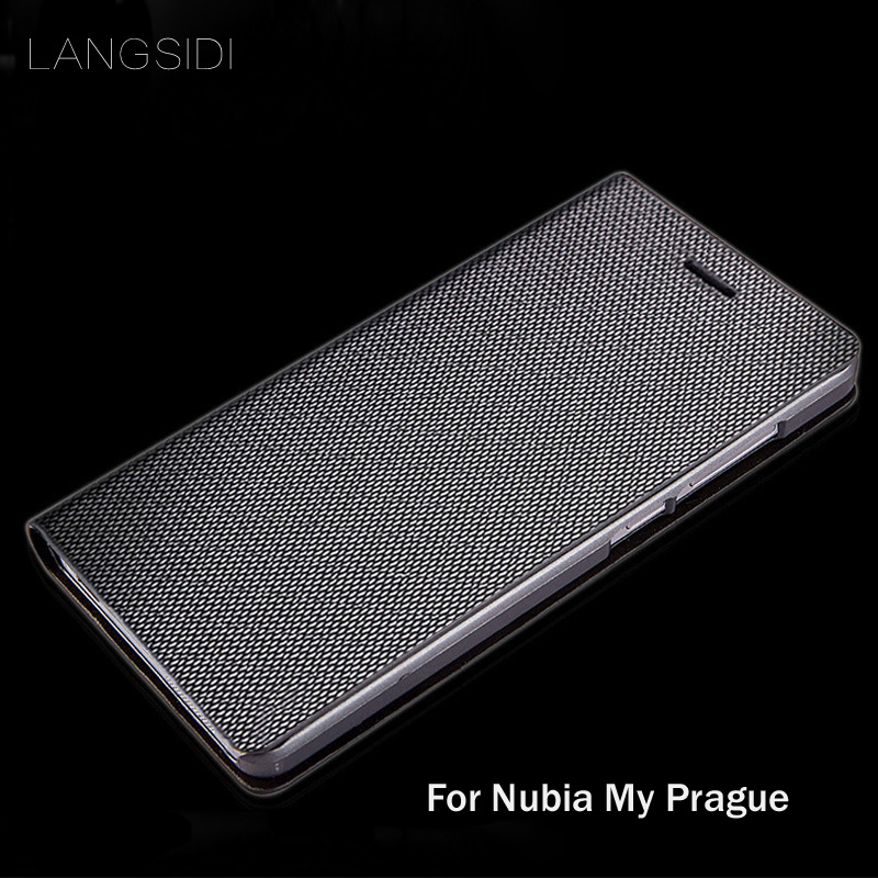 Hzpb1 LANGSIDI brand genuine leather phone case diamond Pattern clamshell handphone shell For Nubia My Prague