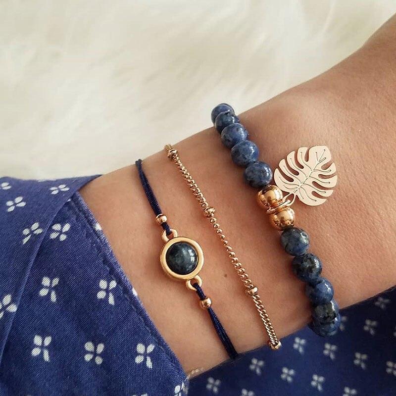 3 Pcs/Set Beads Strand Gold Leaf Charm Bracelets Bangles for Women Sea Turtle Pineapple Map Bracelet Women Natural Stone Beads
