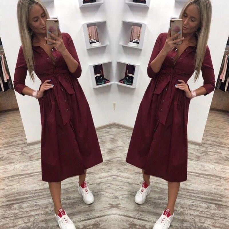 2019 frauen Casual Schärpen Taste A-Line Kleid Stehen Kragen Sieben Hülse Elegante Party Kleider Büro Dame Frauen Knie Länge Kleid