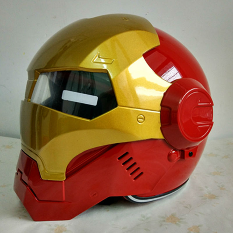 Masei IRONMAN железный человек шлем мотоциклетный шлем половина шлем с открытым лицом шлем мотокросс красный 610 м L, XL, Бесплатная доставка