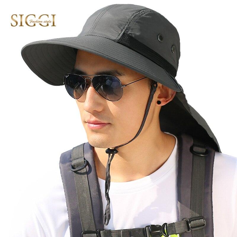 SIGGI Unisex men summer bucket sun hat UPF 50+ packable women sunhat outdoor UV cap Neck Flap wide brim 89030