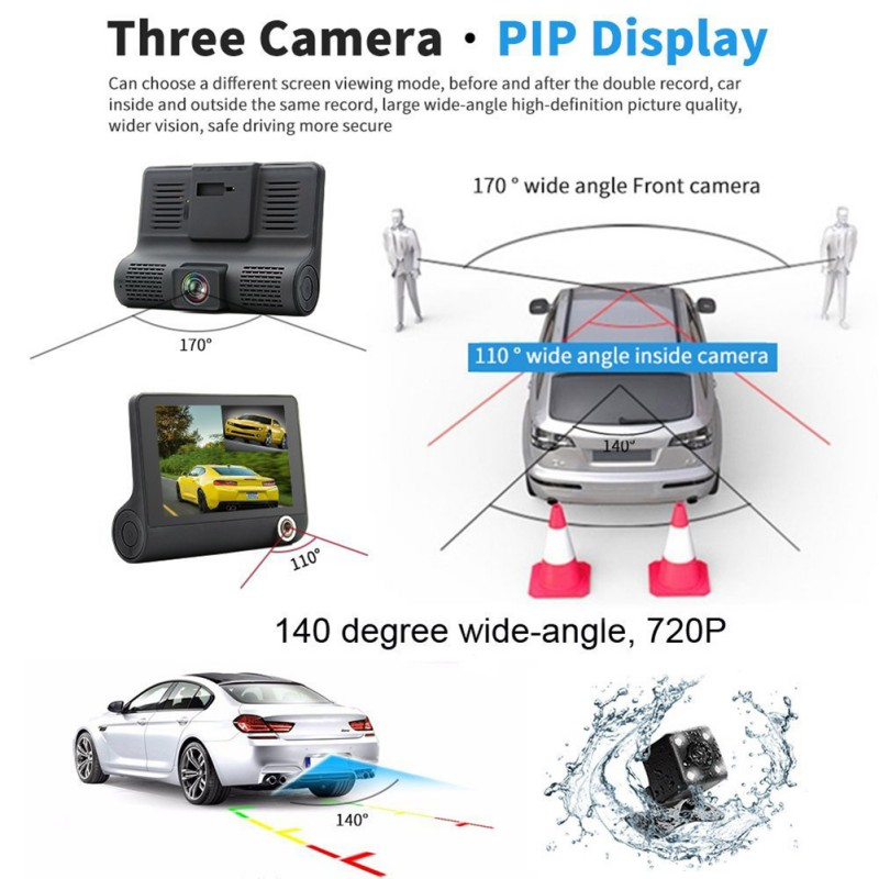 4 inch Car DVR font b Camera b font Dashcam Dual Lens Cam 1080P Full HD
