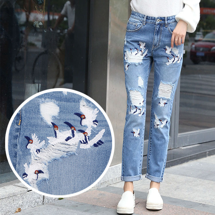 ФОТО Graffio Women Ripped Thin Jeans Fashion Embroidery Woman Hold Jean Full Length Harem Pants Ladies Zipper Mid Waist Loose Jeans