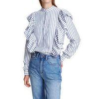 New Women Blouse Blue Casual Frilled Blouse Striped Long Sleeve Shirt Women Tops RuffleSpring Stand Collar Femme Blusa Tops