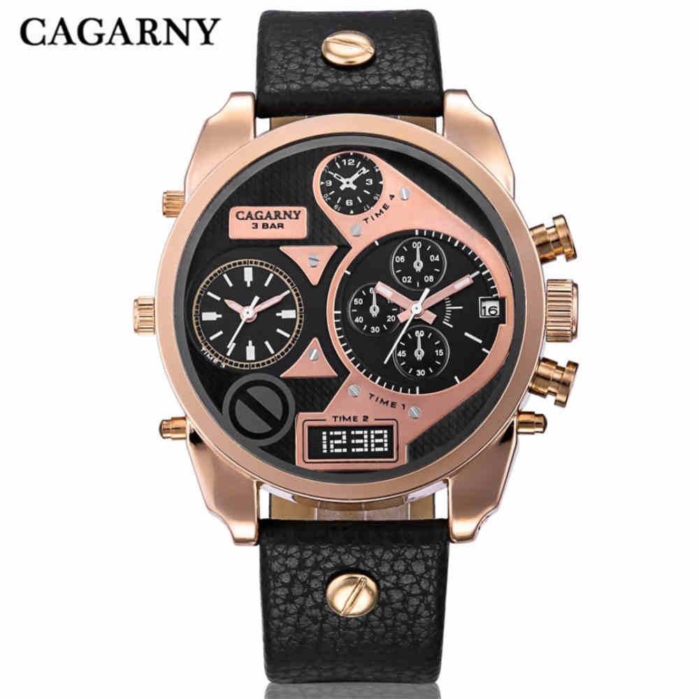 CAGARNY Άνδρες Dual Κίνηση Ρολόγια Κορυφαία μάρκα πολυτελείας δερμάτινο λουράκι ρολόι χρυσό Αθλητικά ρολόγια μόδας Άνδρες Φτηνές ρολόι Relojes Mujer