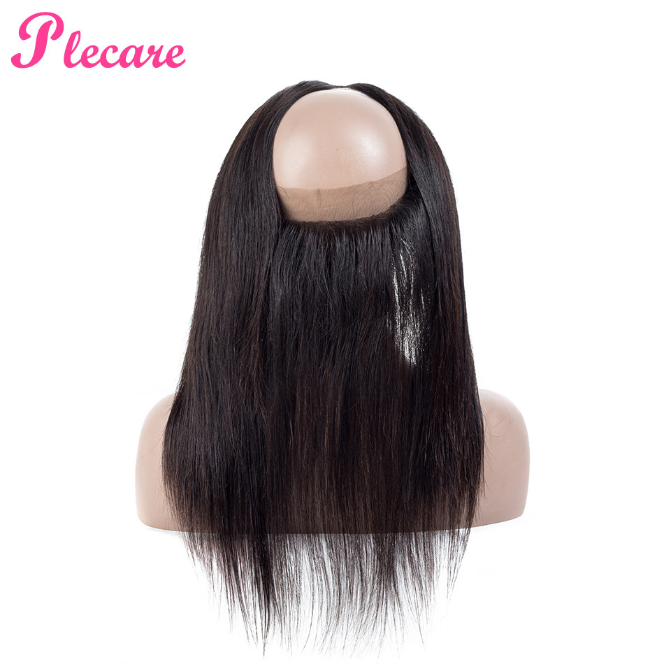 Plecare 360 Lace Frontal Closure Indian Straight Hair 360 Frontal Closure With Baby Hair Non Remy 100% Human Hair Extension