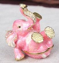 لطيف الفيل تمثال هدايا عيد الميلاد اليدوية معدن الفيل شكل صندوق مجوهرات خشبي أنيق الوردي لطيف الفيل حلية صندوق