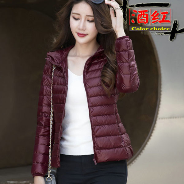 women khaki/white/hot pink/blue/black/red/Burgundy color Winter Solid Short Hooded 90% White Duck   Down     Coats   Female   Down   Jackets