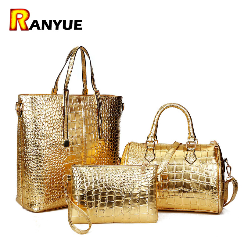 3 pièces luxe Alligator Crocodile femmes en cuir sac à main ensemble célèbre marque femmes sacs à bandoulière dames sacs à main sac à main pochette or
