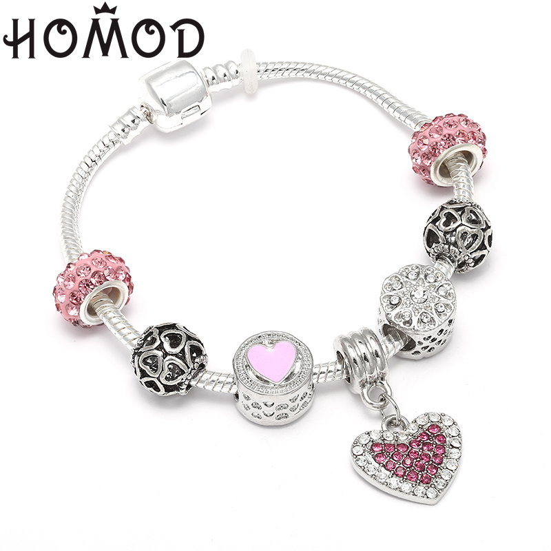 HOMOD Vintage Pink Crystal Glass Beads Pendant Charms Bracelets for Women Girl Pandora Bracelets & Bangles With Lover Gifts