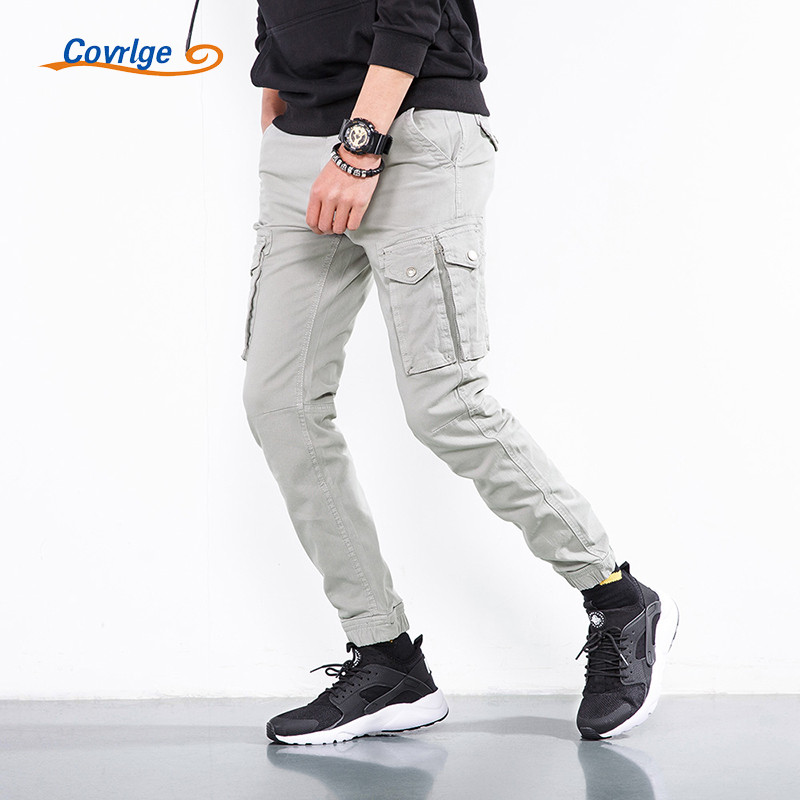 Covrlge Mens Trousers 2018 Spring New Fashion Mens Cargo Pants Chinos Men Pants Cotton Tracksuit Bottoms Hiphop Overalls MKX029