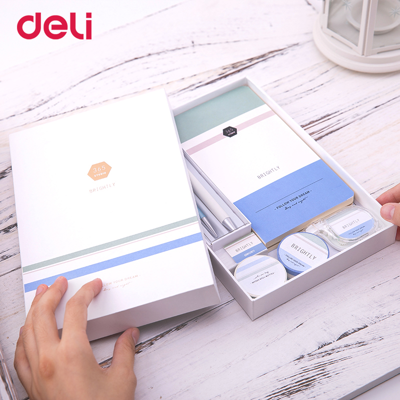 Deli dropshipping quality 7 pcs school kid writing set cute office supply gift with box 0.5mm gel pen pencil notebook washi tape kid s box 2ed 5 pupils bk