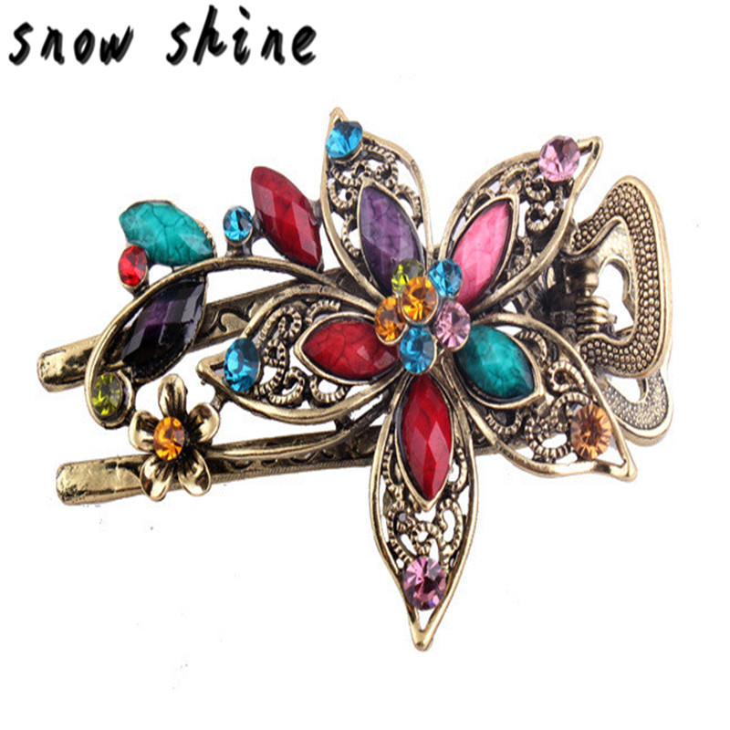 snowshine #4503 Vintage Jewelry Crystal Hair Clips Hairpins For Hair Clip Tools free shipping *cydj