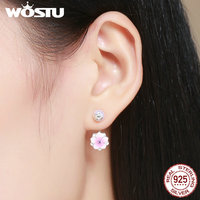 WOSTU High Quality 925 Sterling Silver Romantic Magnolia Blossom Drop Earrings For Women Wedding Party S925