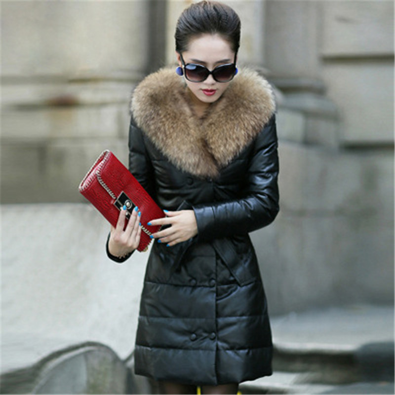 plus size Women Winter PU Jacket Thicken Leather Jackets Slim Warm PU Coats Fur Collar Double Breasted Women Suede Jackets D493