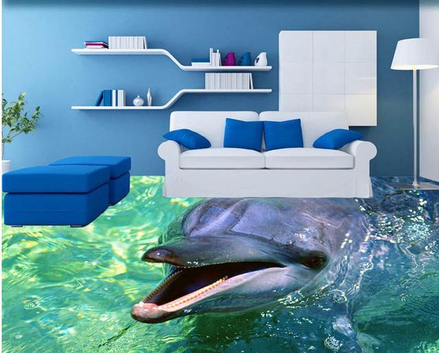 3d Fußboden Design ~ D tapete pvc delphin bad d boden mural design d wallpaper