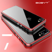 Fina Caso de Alumínio do Metal Bumper Case para iphone 5 7 Plásticos Quadro Back Cover Híbrido Para iPhone 7 8 mais Luxo caso à prova de choque(China)