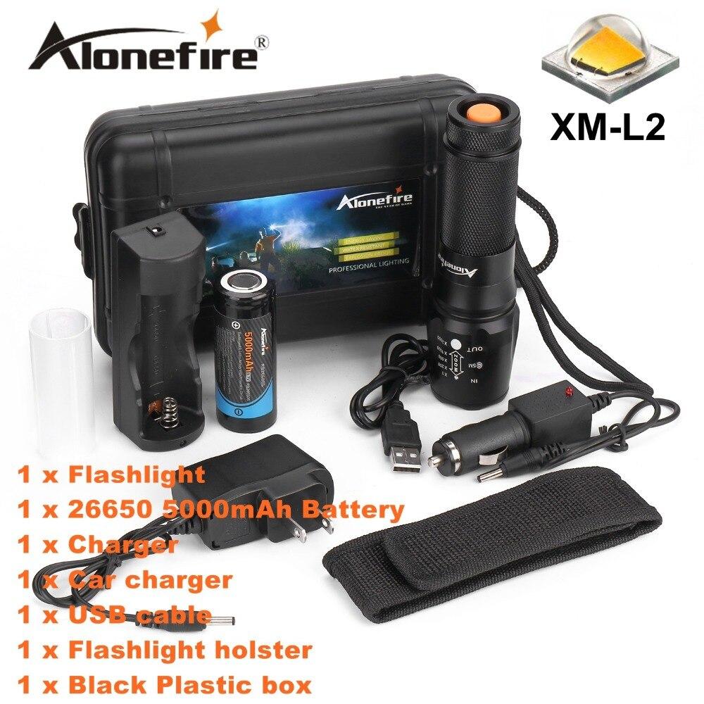 ALONEFIRE X800 Масштабируемые XM-L2 led фонарик факел освещение Оборонительная тактический фонарик night light + 26650 + зарядное устройство
