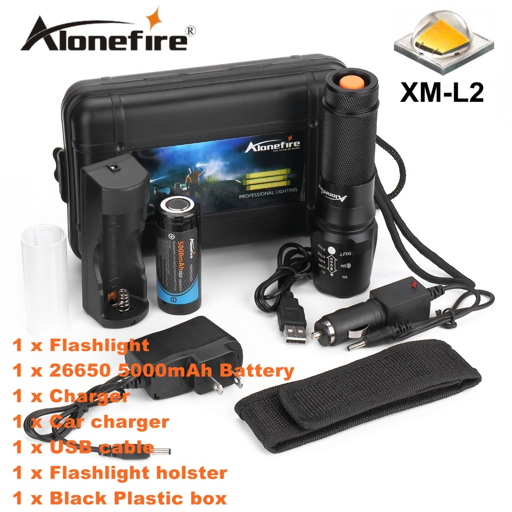 ALONEFIRE X800 Zoomable XM-L2 led flashlight torch lighting Defensive tactical flashlight night light+26650 battery+charger alonefire x160 cree xm l2 led flashlight high power lighting flashlight torch with 26650 battery charger