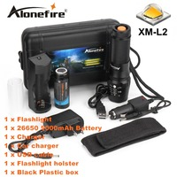 ALONEFIRE X800 Zoomable XM-L2 led flashlight torch lighting Defensive tactical flashlight night light+26650 battery+charger