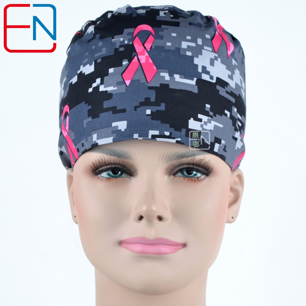 Unisex Surgical Hats In Grey Camouflage With Pink Ribbons