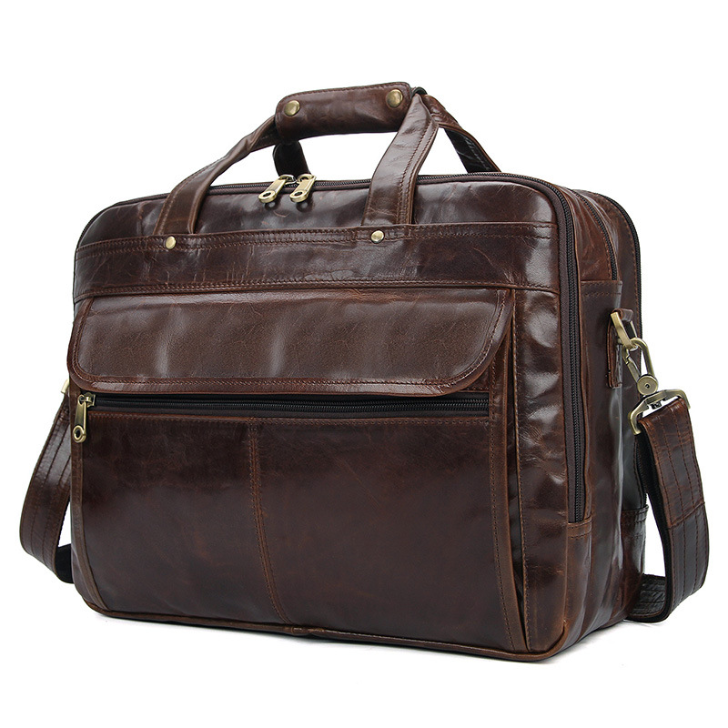Nesitu Large Capacity Vintage Coffee Grey Genuine Leather Men Briefcase 15.6'' Laptop Male Business Travel Messenger Bags M7146