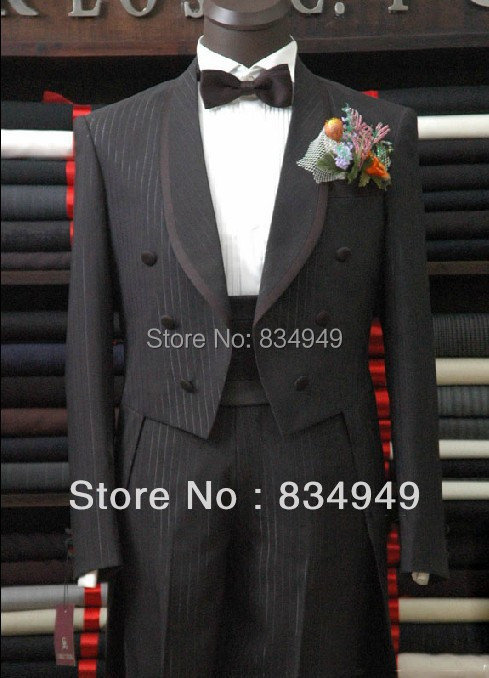 Custom Made To Measure black pinstripe tailcoat,BESPOKE long tail BLACK tuxedo tailcoat,TAILORED MEN SUITS