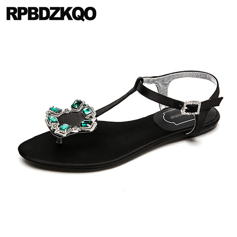 d8358283cdca9 Thong Slingback T Strap Shoes Women Sandals Flat Summer 2018 Diamond Jewel  Chunky Rhinestone Wedding Ankle Satin Low Heel Thick