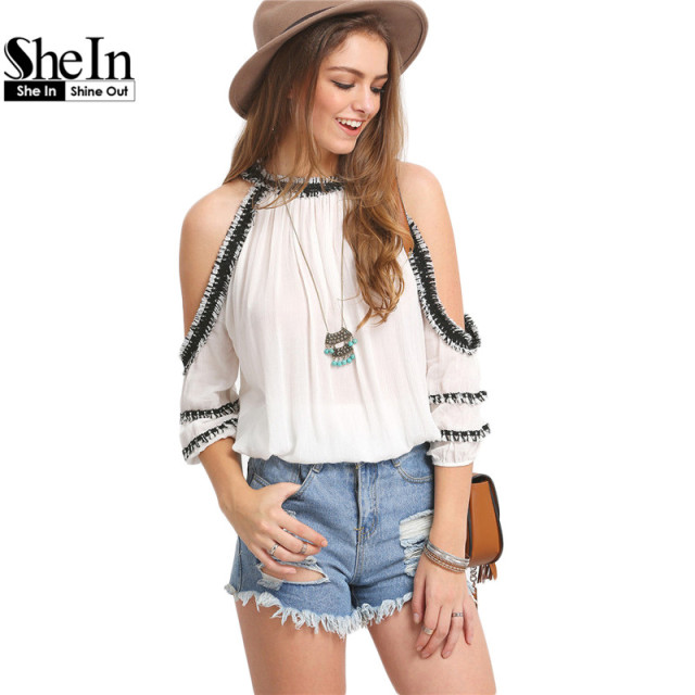 668cb93daa9 SheIn New Arrival Summer Style Womens Fashion Tops Round Neck Short Sleeve  White Crochet Trim Cold