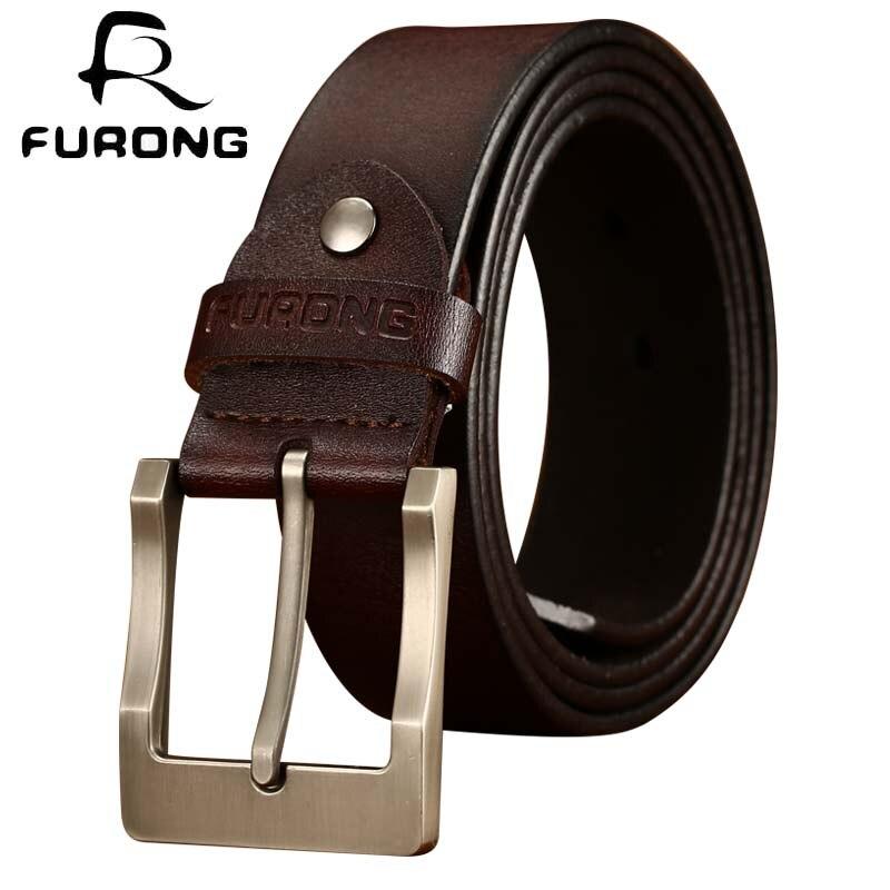 FURONG 100% Real Cowhide Designer Men Belts Luxury Full Grain Leathere High Quality Original Brand Belts Genuine Leather