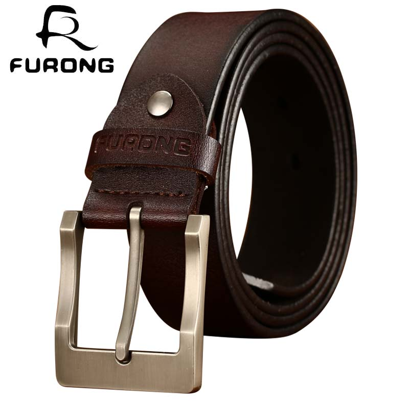FURONG 100% Real Cowhide Designer Men   Belts   Luxury Full Grain Leathere High Quality Original Brand   Belts   Genuine Leather