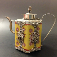 Chinese Handwork Inlay Silver Dragon Cyan Yellow Porcelain Teapot Monkey Lid Decorations