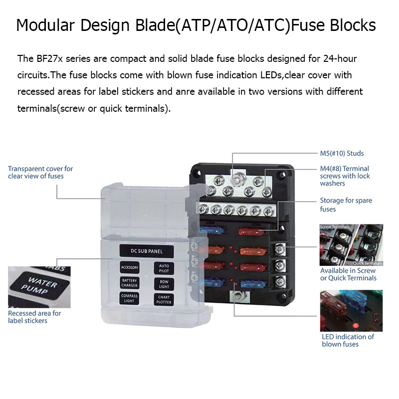 Image 3 - 12 Bit Negative Common Box Modular Design Blade Fuse Block LED indicator For Car RV Boat Fuse Box With Lamp-in RV Parts & Accessories from Automobiles & Motorcycles