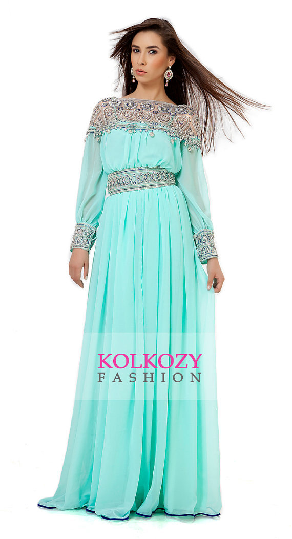Mint Green manches longues fait à la main brodé en mousseline de soie musulmane  robe de