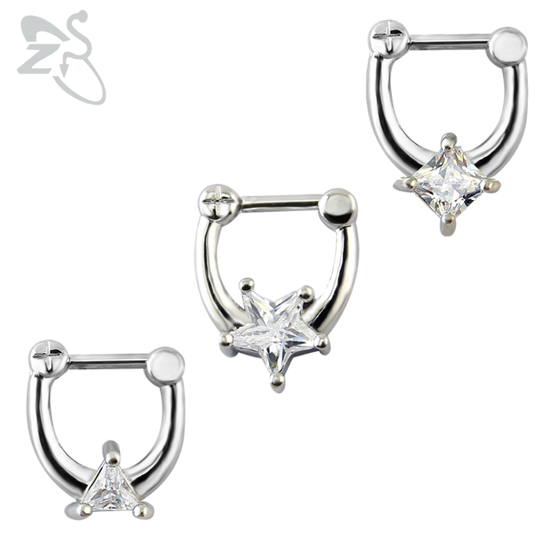 ZS Star crystal nose stud septum nose ring septum clicker 16g nose piercing body jewelry septum piercing real septum ring 2018