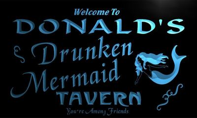x0015-tm Donalds Drunken Mermaid Tavern Custom Personalized Name Neon Sign Wholesale Dropshipping On/Off Switch 7 Colors DHL